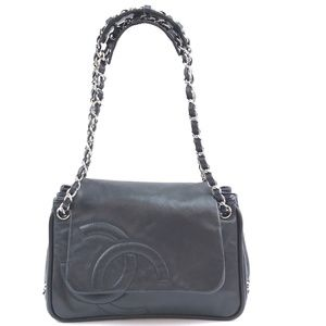 Cc Chain Strap Flap Black Leather Shoulder Bag